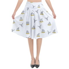 Cactus Pattern Flared Midi Skirt by ValentinaDesign