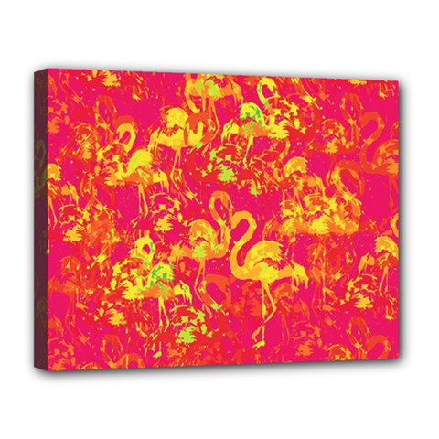 Flamingo Pattern Canvas 14  X 11  by ValentinaDesign