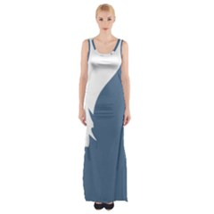 Blue White Hill Maxi Thigh Split Dress by Mariart
