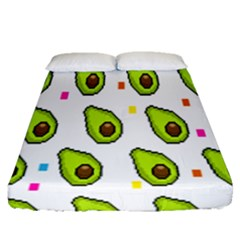 Avocado Seeds Green Fruit Plaid Fitted Sheet (queen Size)