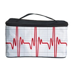 Cardiogram Vary Heart Rate Perform Line Red Plaid Wave Waves Chevron Cosmetic Storage Case by Mariart