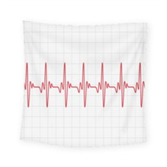 Cardiogram Vary Heart Rate Perform Line Red Plaid Wave Waves Chevron Square Tapestry (small)