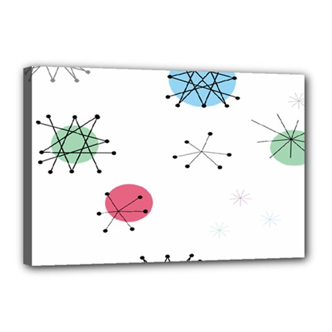 Atomic Starbursts Circle Line Polka Canvas 18  X 12  by Mariart