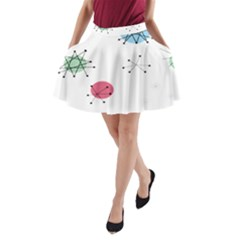 Atomic Starbursts Circle Line Polka A Line Pocket Skirt by Mariart