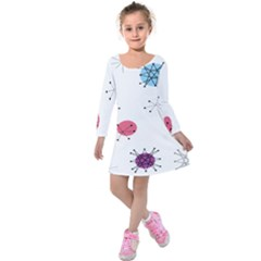 Atomic Starbursts Circle Line Polka Kids  Long Sleeve Velvet Dress by Mariart