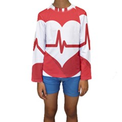 Cardiologist Hypertension Rheumatology Specialists Heart Rate Red Love Kids  Long Sleeve Swimwear by Mariart