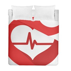 Cardiologist Hypertension Rheumatology Specialists Heart Rate Red Love Duvet Cover Double Side (full/ Double Size) by Mariart