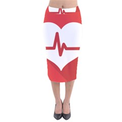 Cardiologist Hypertension Rheumatology Specialists Heart Rate Red Love Velvet Midi Pencil Skirt by Mariart