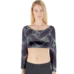 Closeup Purple Line Long Sleeve Crop Top by Mariart