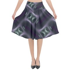Closeup Purple Line Flared Midi Skirt by Mariart