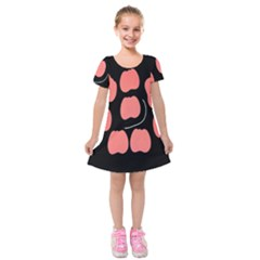 Craft Pink Black Polka Spot Kids  Short Sleeve Velvet Dress by Mariart