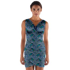 Boomarang Pattern Wave Waves Chevron Green Line Wrap Front Bodycon Dress