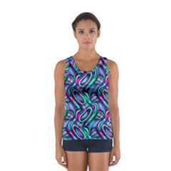 Circle Purple Green Wave Chevron Waves Women s Sport Tank Top  by Mariart