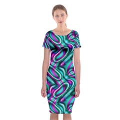Circle Purple Green Wave Chevron Waves Classic Short Sleeve Midi Dress by Mariart