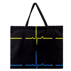 Heart Monitor Screens Pulse Trace Motion Black Blue Yellow Waves Zipper Large Tote Bag by Mariart