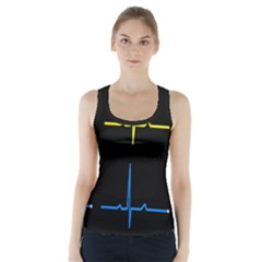 Heart Monitor Screens Pulse Trace Motion Black Blue Yellow Waves Racer Back Sports Top by Mariart