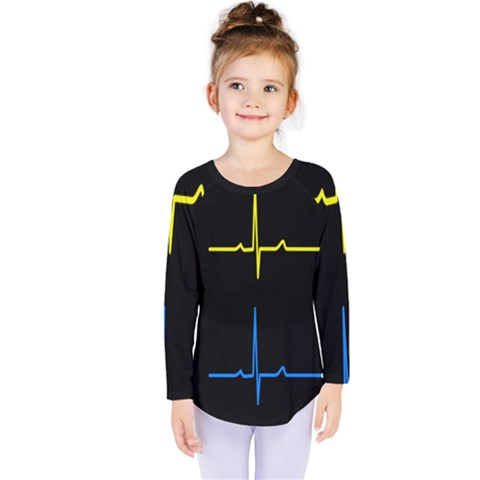 Heart Monitor Screens Pulse Trace Motion Black Blue Yellow Waves Kids  Long Sleeve Tee by Mariart