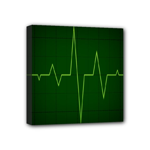 Heart Rate Green Line Light Healty Mini Canvas 4  X 4  by Mariart