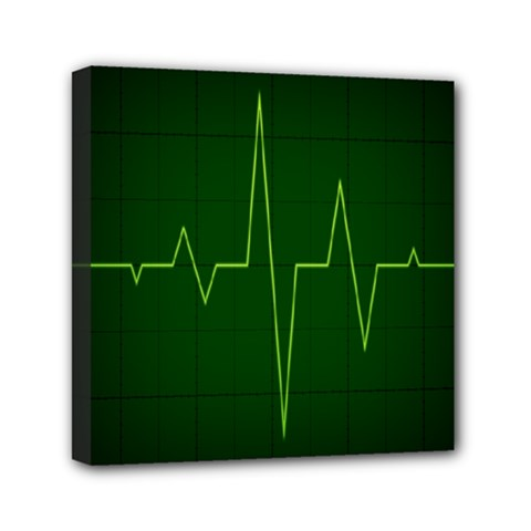 Heart Rate Green Line Light Healty Mini Canvas 6  X 6  by Mariart