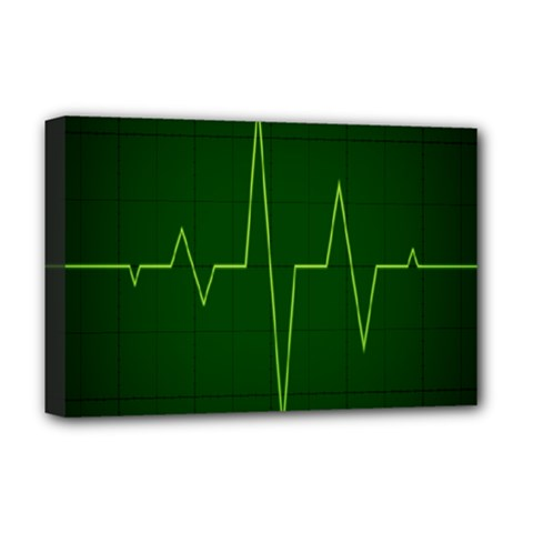 Heart Rate Green Line Light Healty Deluxe Canvas 18  X 12   by Mariart