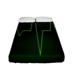 Heart Rate Green Line Light Healty Fitted Sheet (full/ Double Size) by Mariart