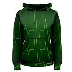 Heart Rate Green Line Light Healty Women s Pullover Hoodie by Mariart