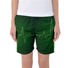 Heart Rate Green Line Light Healty Women s Basketball Shorts by Mariart