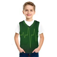 Heart Rate Green Line Light Healty Kids  Sportswear by Mariart