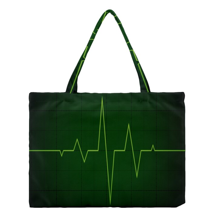 Heart Rate Green Line Light Healty Medium Tote Bag