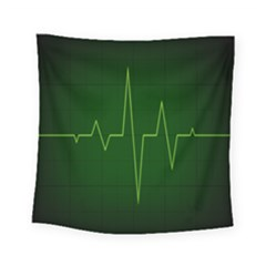 Heart Rate Green Line Light Healty Square Tapestry (small) by Mariart
