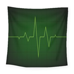 Heart Rate Green Line Light Healty Square Tapestry (large) by Mariart