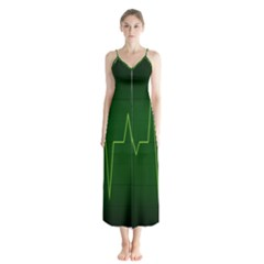 Heart Rate Green Line Light Healty Chiffon Maxi Dress by Mariart