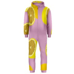 Fruit Lemons Orange Purple Hooded Jumpsuit (men)  by Mariart