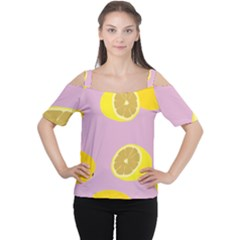 Fruit Lemons Orange Purple Women s Cutout Shoulder Tee by Mariart
