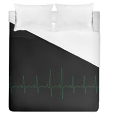 Heart Rate Line Green Black Wave Chevron Waves Duvet Cover (queen Size) by Mariart