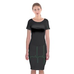 Heart Rate Line Green Black Wave Chevron Waves Classic Short Sleeve Midi Dress by Mariart
