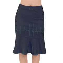 Heart Rate Line Green Black Wave Chevron Waves Mermaid Skirt by Mariart