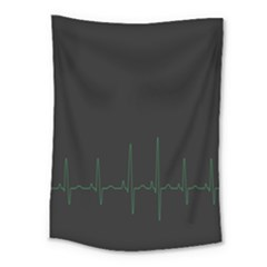Heart Rate Line Green Black Wave Chevron Waves Medium Tapestry by Mariart