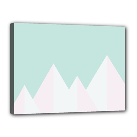Montain Blue Snow Chevron Wave Pink Canvas 16  X 12  by Mariart