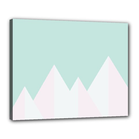 Montain Blue Snow Chevron Wave Pink Canvas 20  X 16  by Mariart