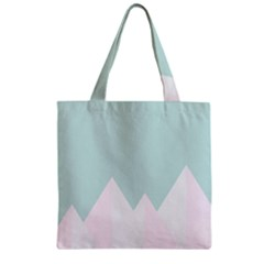 Montain Blue Snow Chevron Wave Pink Zipper Grocery Tote Bag by Mariart
