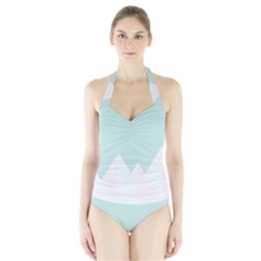 Montain Blue Snow Chevron Wave Pink Halter Swimsuit by Mariart