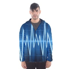 Heart Monitoring Rate Line Waves Wave Chevron Blue Hooded Wind Breaker (men)