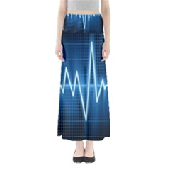 Heart Monitoring Rate Line Waves Wave Chevron Blue Maxi Skirts by Mariart
