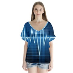 Heart Monitoring Rate Line Waves Wave Chevron Blue Flutter Sleeve Top