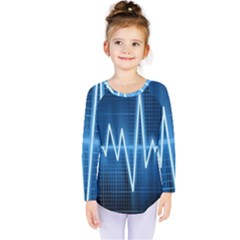 Heart Monitoring Rate Line Waves Wave Chevron Blue Kids  Long Sleeve Tee