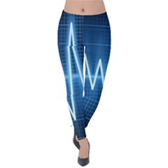 Heart Monitoring Rate Line Waves Wave Chevron Blue Velvet Leggings