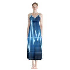 Heart Monitoring Rate Line Waves Wave Chevron Blue Chiffon Maxi Dress by Mariart