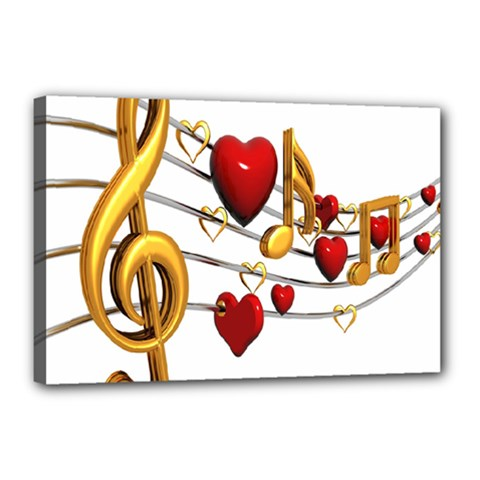 Music Notes Heart Beat Canvas 18  X 12  by Mariart