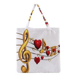 Music Notes Heart Beat Grocery Tote Bag by Mariart